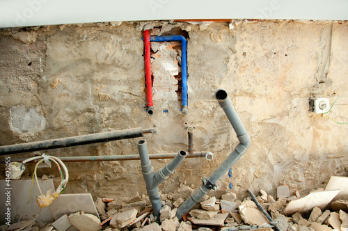 electrical and plumbing installation in kitchen work