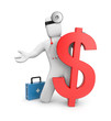3d doctor with firstaid and dollar