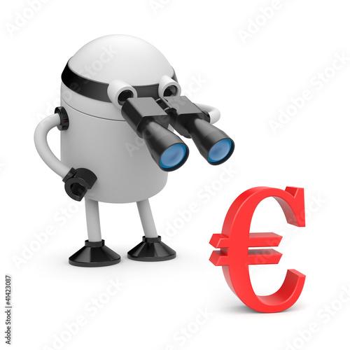 Robot looks in binocular on dollar