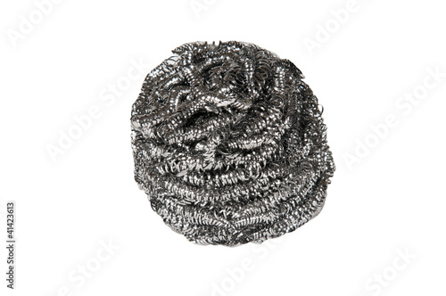 Wire wool scourer over a white background
