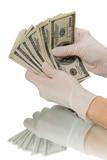 Hands in gloves believe Dollars poster