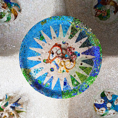 ceiling details on the column hall of Parc Guell, Barcelona