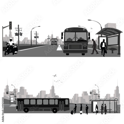 Vector Illustration: Bus station.City skyline