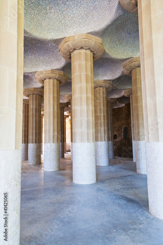 column hall of Parc Guell, Barcelona