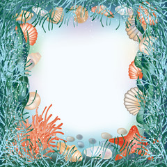 Underwater world frame in style scrapbooking.