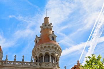 ceramic roof of art nouveau building in Barcelona
