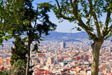 panorama of Barcelona city from Montjuic hill poster