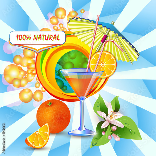 Abstract background with fresh orange juice