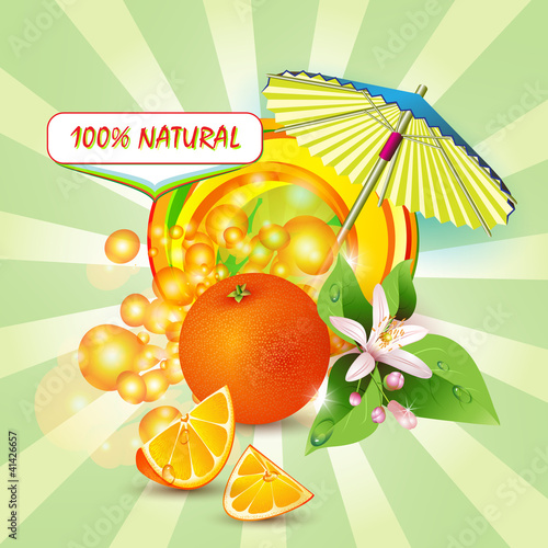 Background with orange, flowers and umbrella