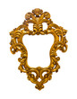 golden sculpture frame isolated with clipping path