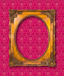 frame of golden wood on pink wallpaper with clipping path