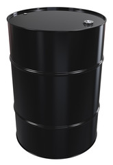 Oil Barrel. Black Oil Barrel, Metal Lid. Isolated.
