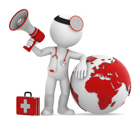 Doctor with globe and megaphone. European and African side