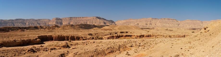 Scenic desert landscape in Makhtesh Katan in Negev desert