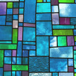 Multicolored stained blue glass window, square format