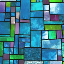 Bunte blau gefärbt Glasfenster, quadratischen Format
