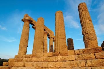 Colonnade of Hera (Juno)  temple in Agrigento, Sicily, Italy