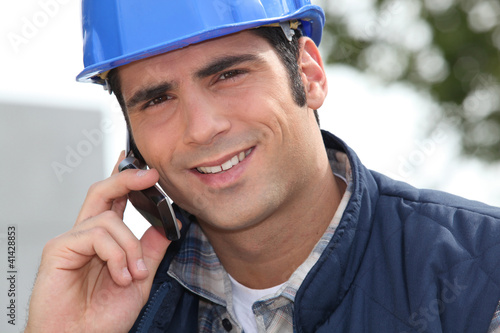 Foreman making a call
