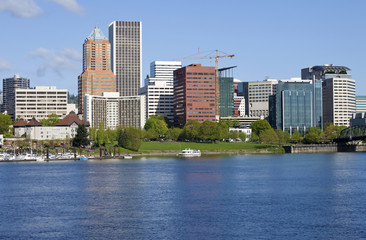 Portland Oregon skyline, in Spring.