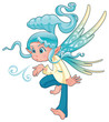 Young fairy blowing a spell. Vector isolated character.