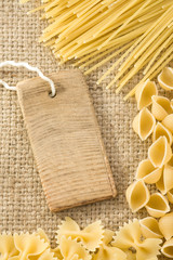 pasta and price tag on sack burlap