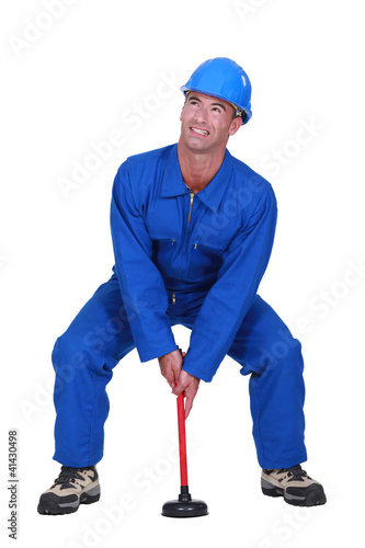 Plumber with plunger
