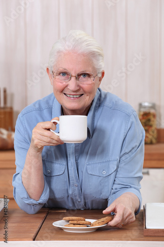 grandmother having coffee