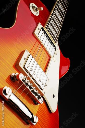 Fotobehang Rood, zwart, wit Elektro Gitarre