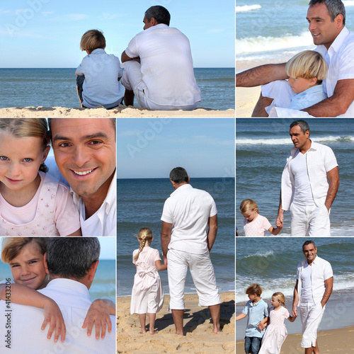 Man with kids at the beach