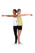 two women doing exercises with dumbbells