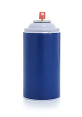 blue spray paint isolated on white background