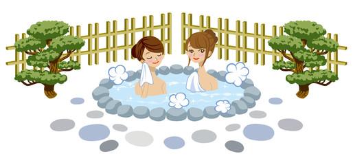 露天風呂 女性 2人