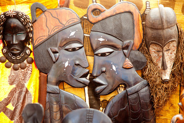african handcraft wood carved profile faces