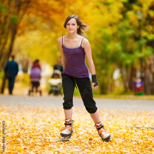 Woman on roller skates in the park
