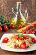 Pasta with fresh tomatoes, tuna and basil