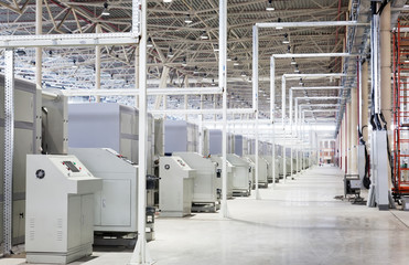 Modern machines in shop at the big enterprise