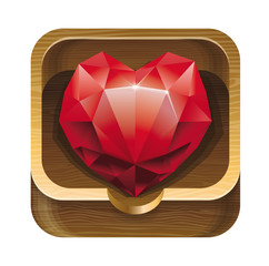 red diamond heart in wooden box