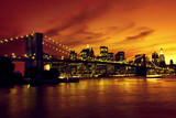 Fototapety Brooklyn Bridge and Manhattan at sunset, New York