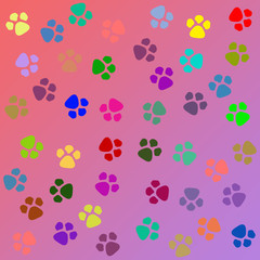 dog paw prints pattern seamless