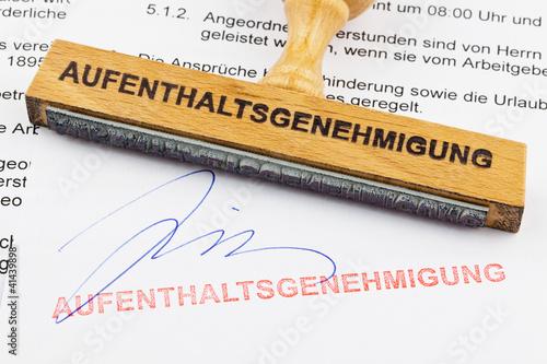 Holzstempel: Aufenthaltsgenehmigung