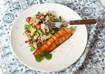 Couscous salad and fish steak