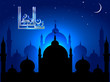 Eid Mubarak. Abstract Mosque with Shiny Background.