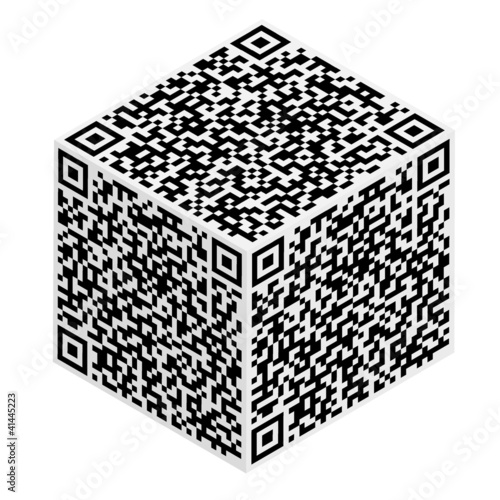 Cube with QR code abstract pattern