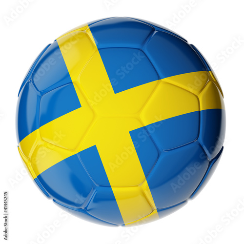 Soccer ball. Flag of Sweden