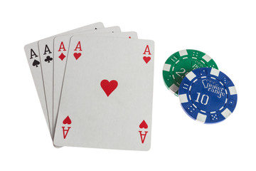 Four aces casino cards with chips