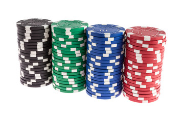 Casino chips isolated on white