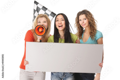 A group of young female college fans