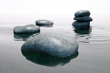 zen atmosphere with stones and water