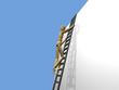 Holzpuppe Leiter Wand