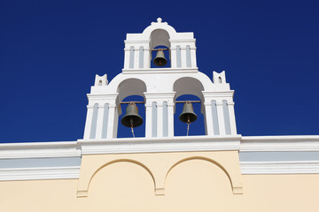 Santorini with Traditional Church bell in Fira, Greece
